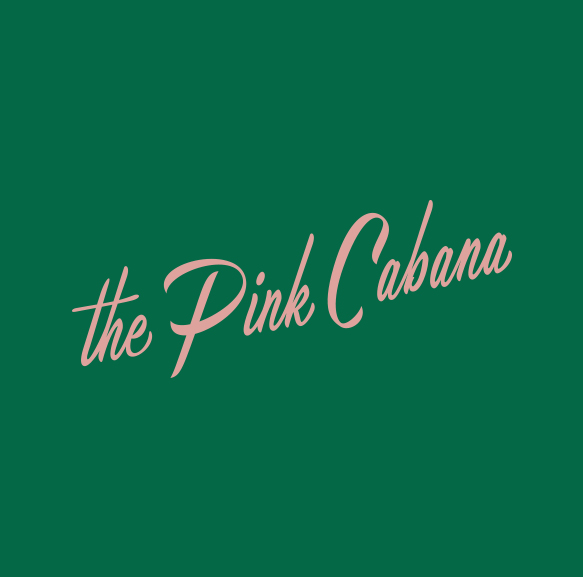 pink cabana logo on green background