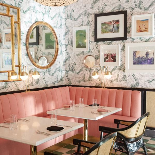 pink cabana restaurant banquette